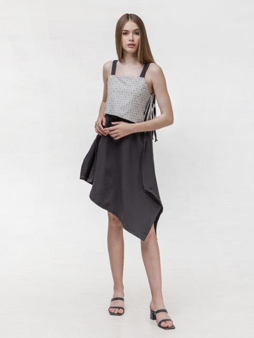 Daisy Asymmetric Strap Dress in Grey image