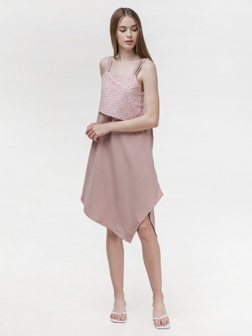 Daisy Asymmetric Strap Dress in Pink image