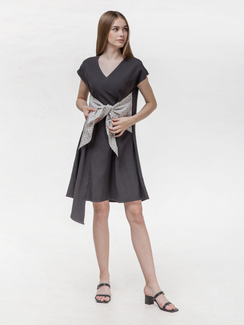 Koya Bow Dress in Grey (PRE-ORDER) image