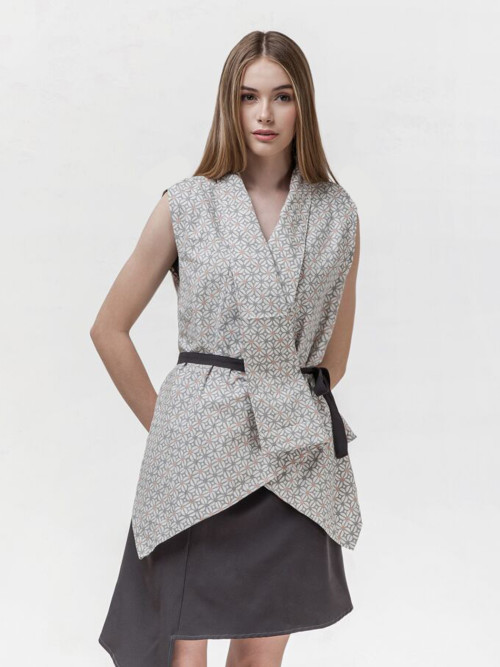 Dora Multiway Wrap Top in Kawung Grey (BACK-IN-STOCK!) image