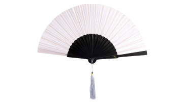 Plain Silk Fan White image