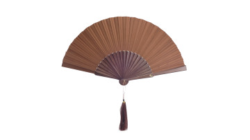 Plain Silk Fan Brown image