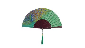 HandPainted Brocade Application Fan Green Peacock image