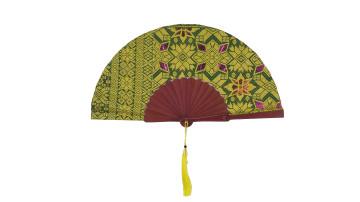 Ethnic Fan - Balinese Hand Weaving Yellow and Green image