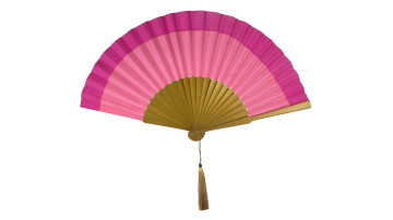 Plain Silk Fan Two Tone Fucia Rose Pink image