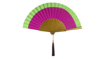 Plain Silk Fan Two Tone Green Magenta image