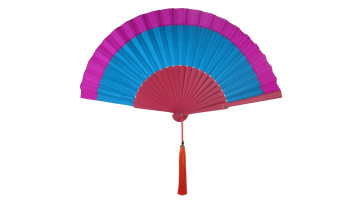 Plain Silk Fan Two Tone Purple Blue image