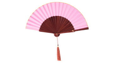 Plain Silk Fan Rose Pink Brown image