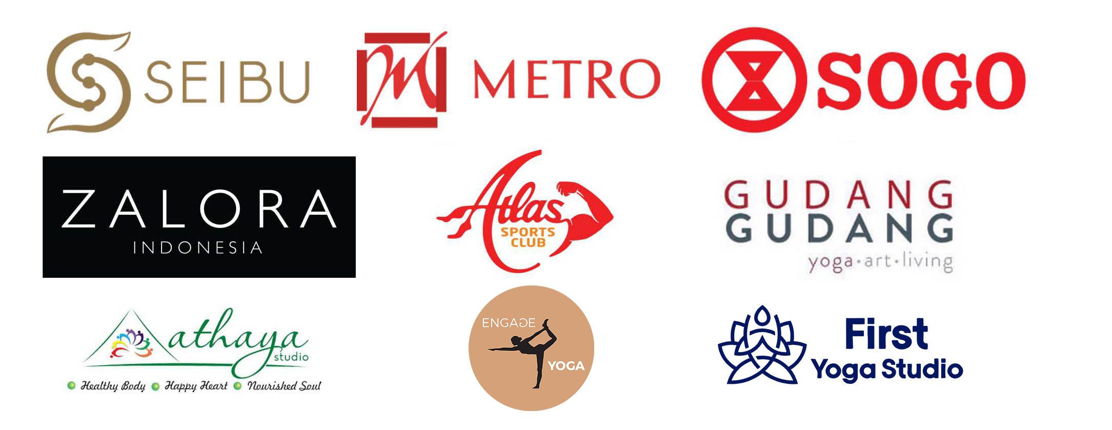 Seibu, Zalora, Metro, Sogo, Gudang-Gudang Yoga Studio, Athaya Studio Bali
